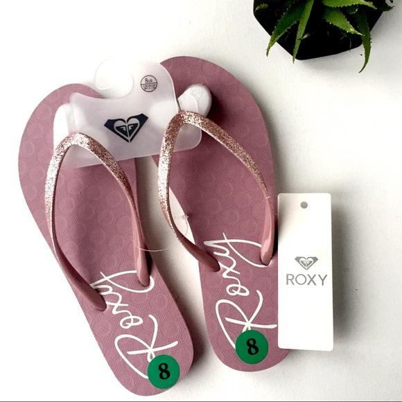 Roxy Pink Glitter Flip Flops